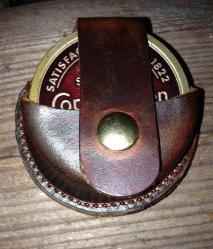 snuff holder , leather snuff sheath , Belt snuff sheath