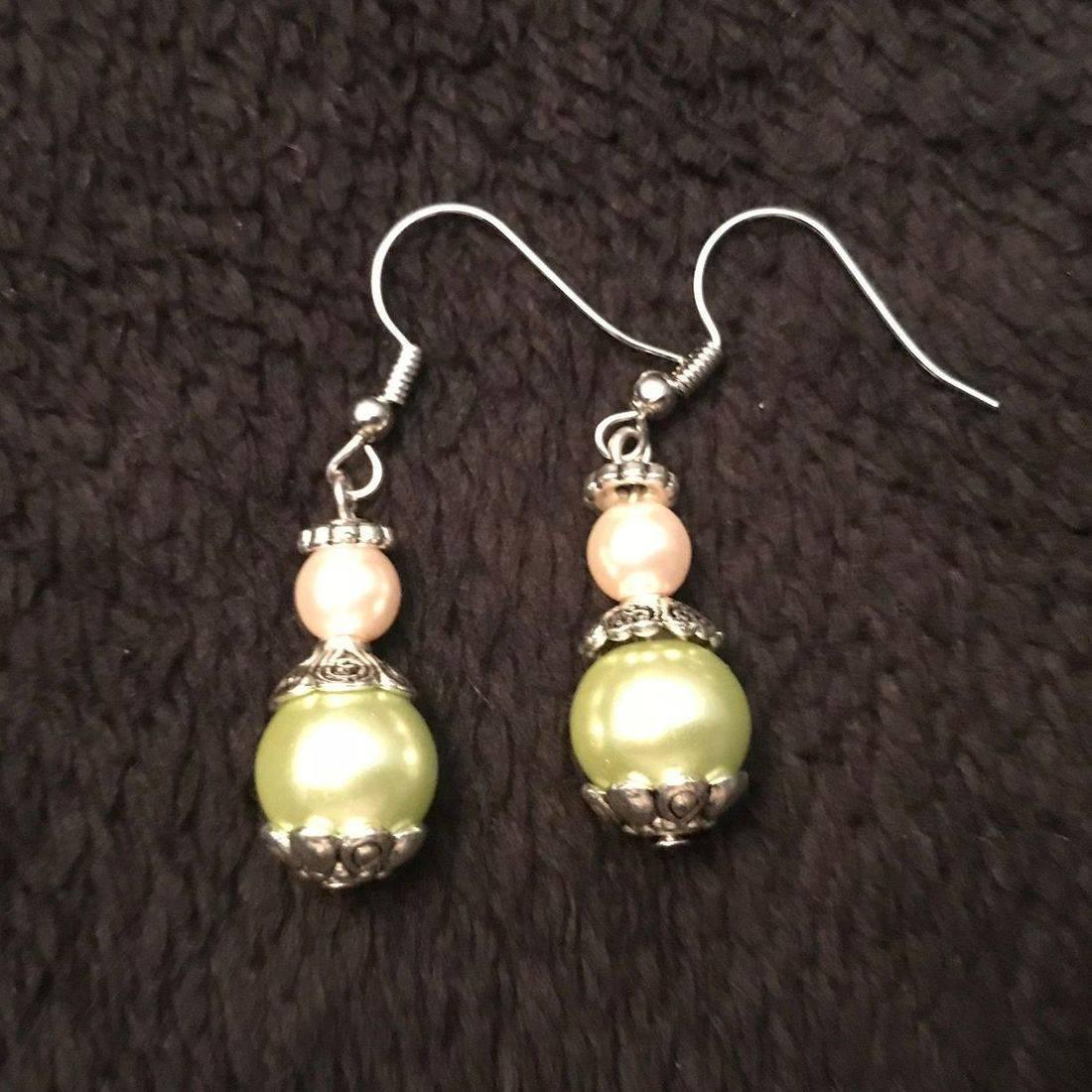 Pink & Seafoam Pearl Earrings