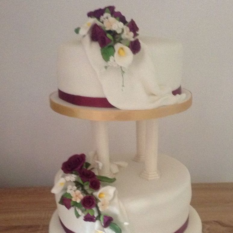 Burgundy and Gold Pillar Wedding Cake  Fabu-Lous Cakes