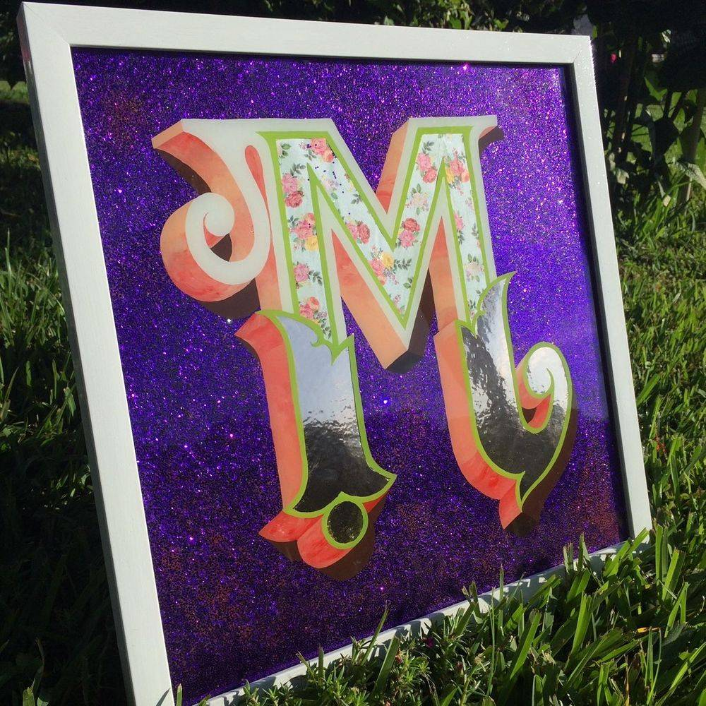 Glass art painting monogram logo design glitter flake
