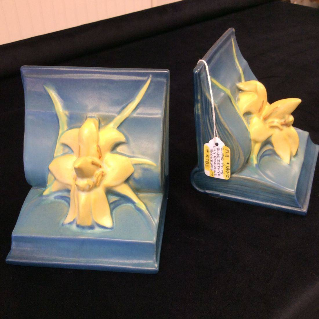Pr. Vintage Roseville Blue Zephyr Lily Bookends  $ 180.00