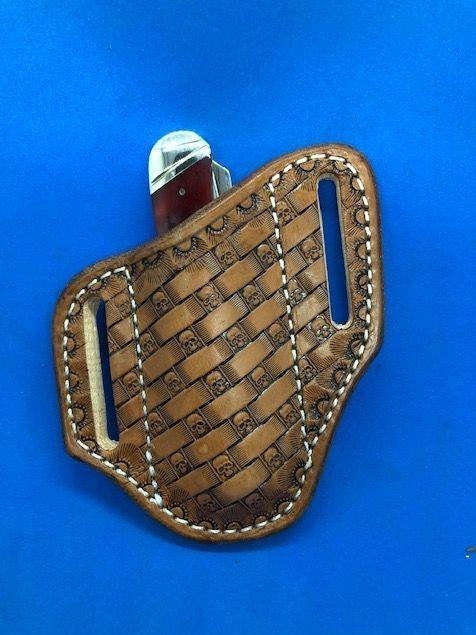 Arrow head tooling , Basket weave , custom sheath , trapper sheath