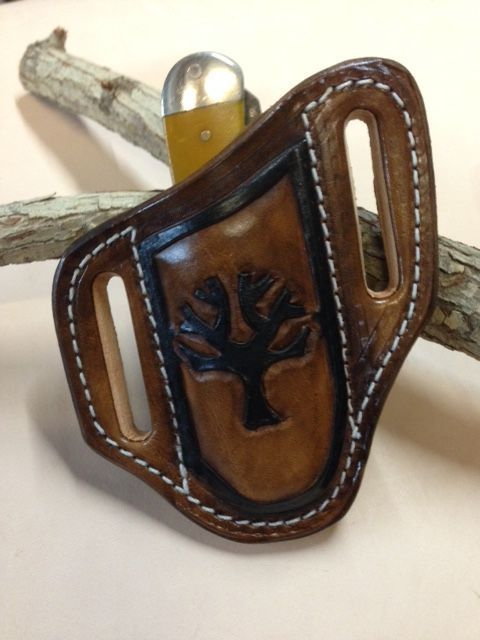 Trapper sheath , tooled , hand tooled , boker tree , trapper knives , stockman knives , pocket knife sheath