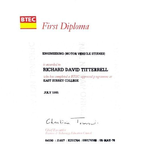 BTEC First Diploma Engineering