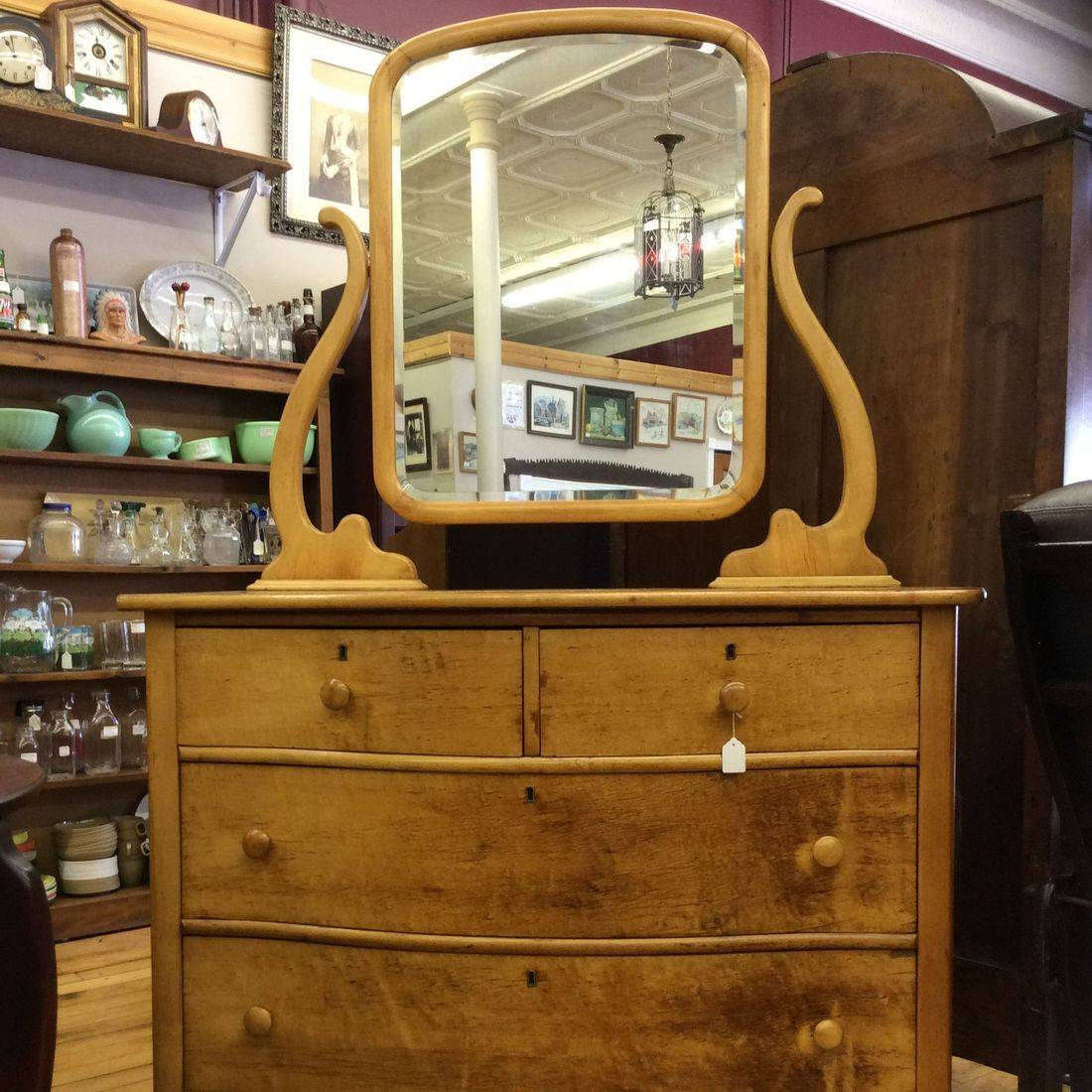 Vintage Birdseye Maple 4-Drawer Dresser w/Mirror   $275.00