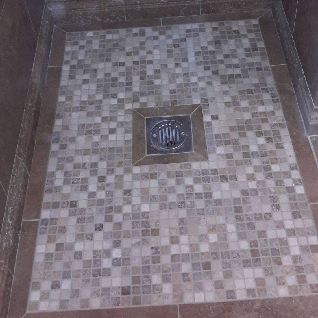 Mosaic, tiles, tiler, bathroom fitter, plumber, walk in shower,travertine