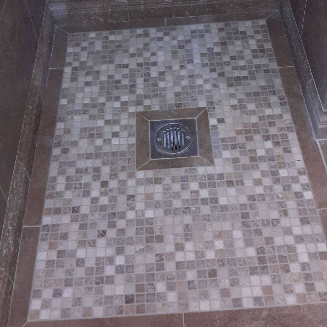 Mosaic, tiles, tiler, bathroom fitter, plumber, walk in shower,travertine
