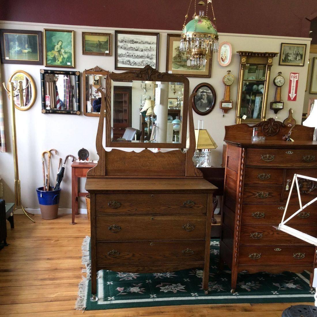 "Early 1900's, 3-Drawer Oak Dresser w/Mirror - 40""W x 20""D x 35""H (Mirror hgt. 71"")   $275.00"