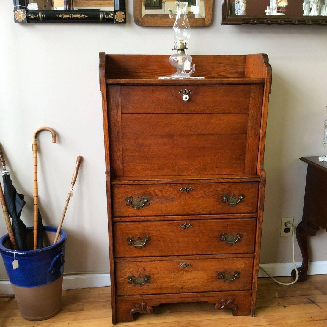 Early Primitive Drop-Front Oak 3-Drawer (+) Secretary   $325.00