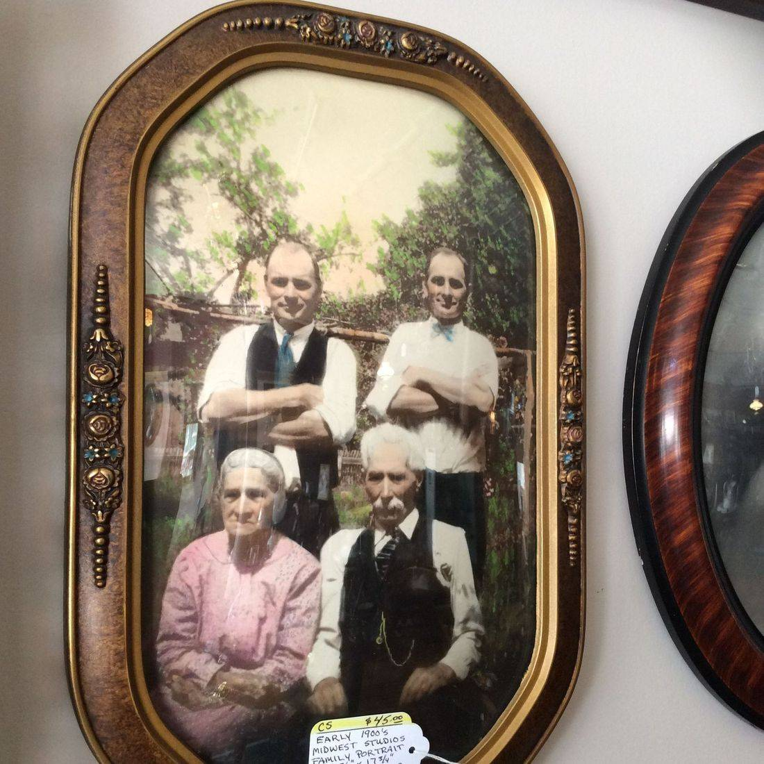 "Early 1900's Midwest Studios Family Portrait in 11-3/4"" x 17-3/4"" Floral Cut-Corner Frame   $45.00"