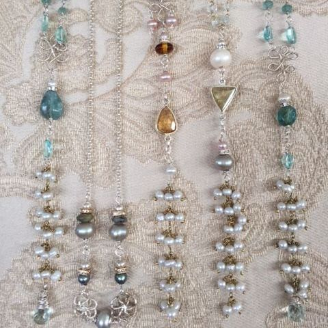 14k gold filled necklaces with pearls and gemstones,