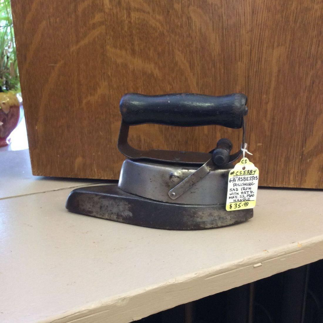 """Pat. 1900 Asbestos 6-3/4""""L. Polishing Sad Iron   $35.00"""