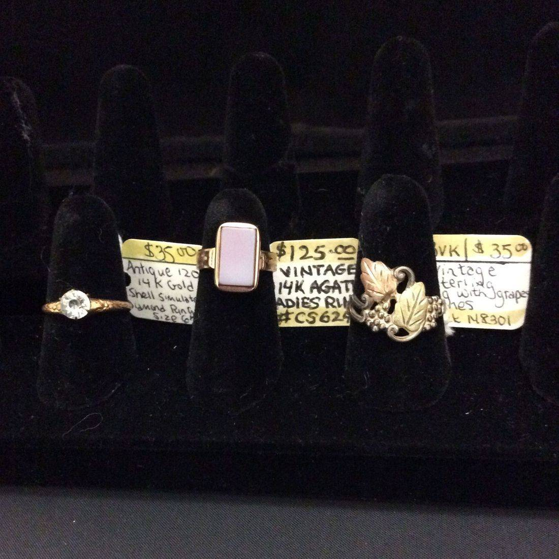 Ant. 120th 14K Gold, Shell Simulated Diamond Ring  $35,  Vin. 14K Agate, Ladies Ring  $125,  Vin. Sterling, Grapes & Vines Ring  $35.00