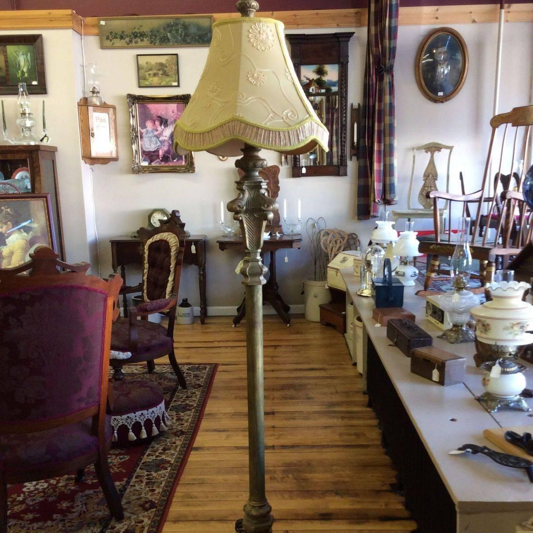"Modern Italian Baroque Style Gilded Floor Lamp 71""Hgt.   $250.00"