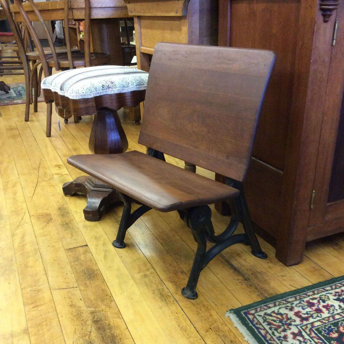 "1900-1930 Small Child's School Desk Chair w/Folding Seat  18""W x 17""D x 24""H. (Seat 12-1/2""H).  $60.00"