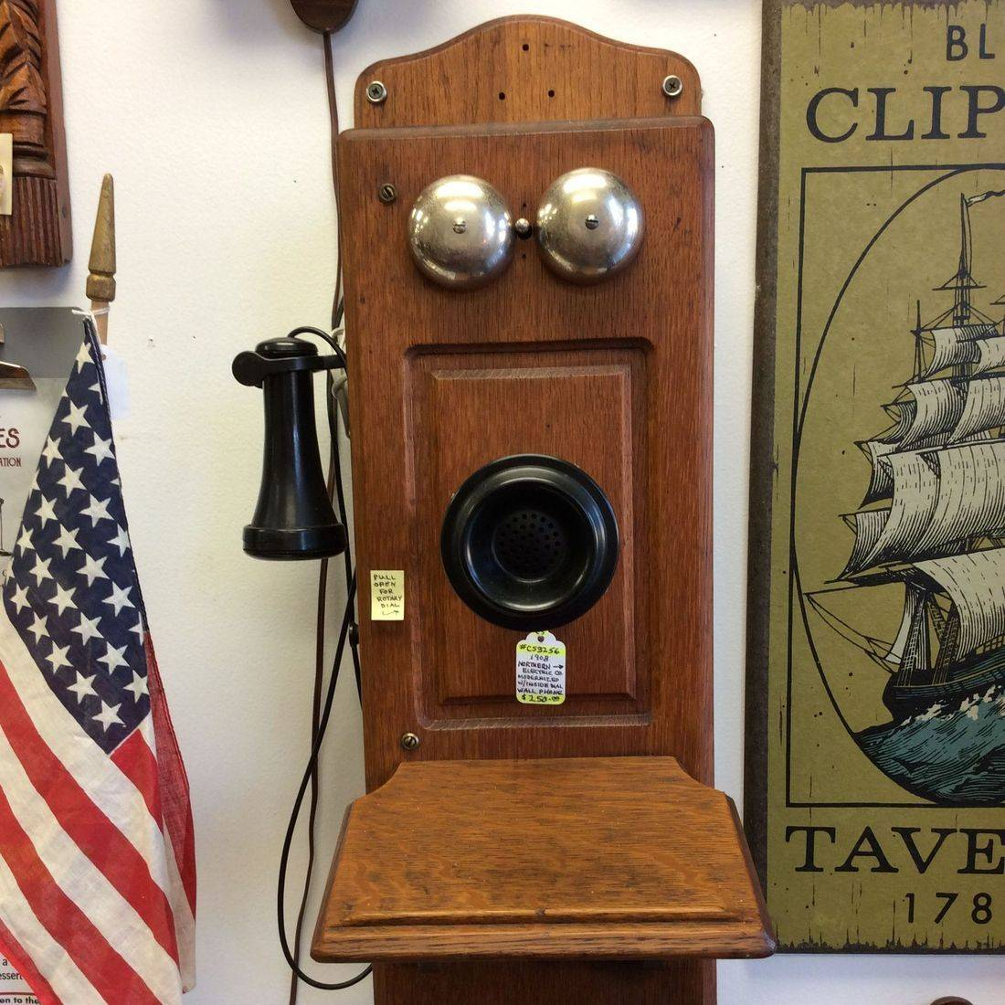 "1908 Northern Electric, ""Modernized"" Wall Phone w/Inside Cabinet Dial   $250.00"