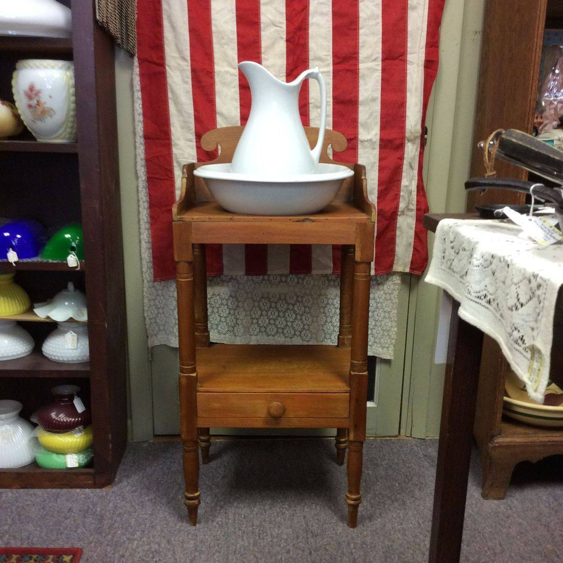 1850's/70's Maple Wash Stand, w/J&G Meakin Pitcher and Henry Alcock &Co. Wash Bowl   $175.00