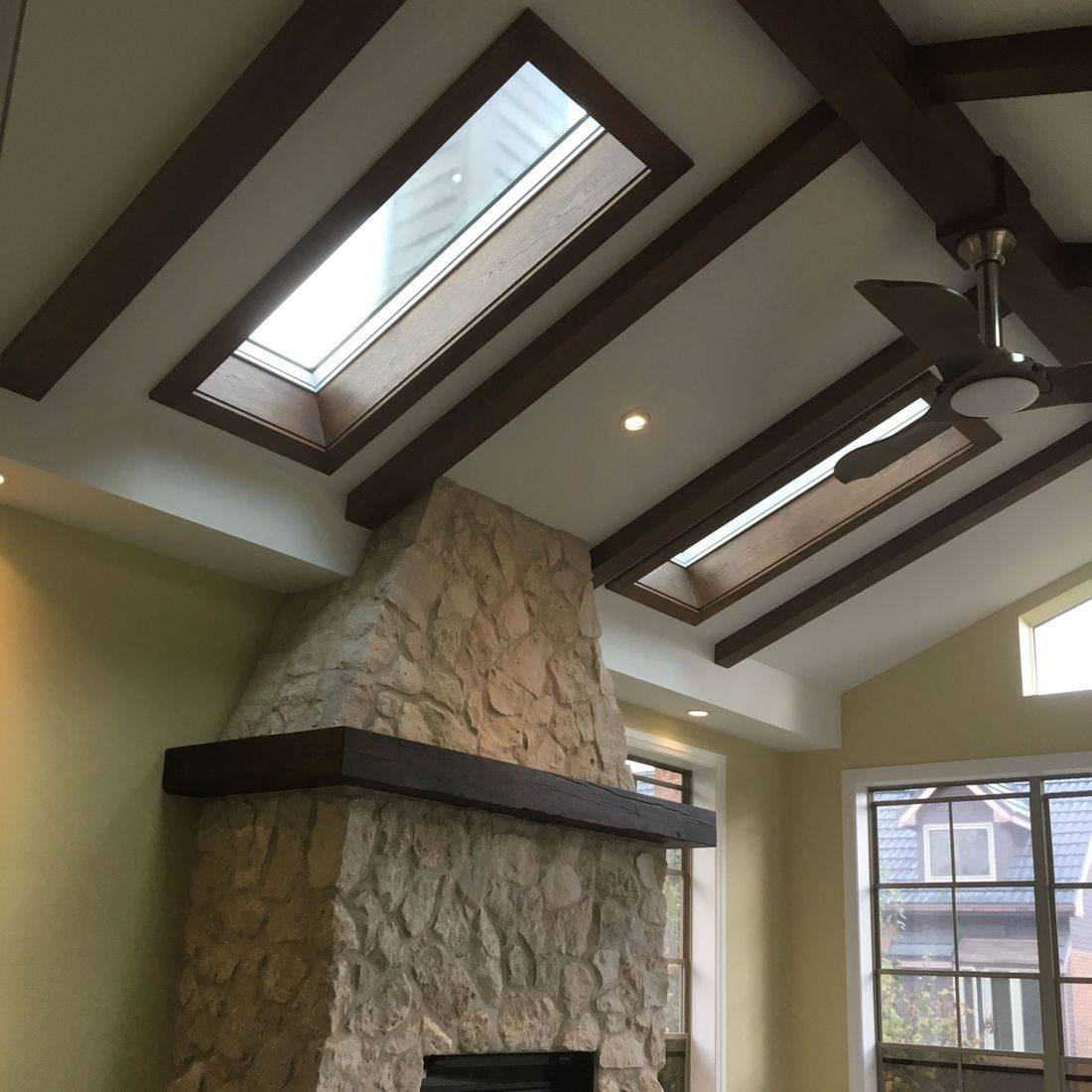 Waterloo Vaulted Ceiling Beams And Fireplace Mantel