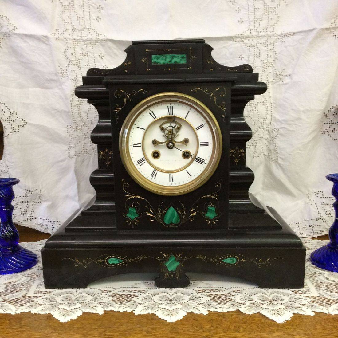 "Circa 1880's Samuel Marti 8-Day "" Working "" French Marble Mantle Clock  15""W x 6-1/2""D x 14""H.  $350.00"