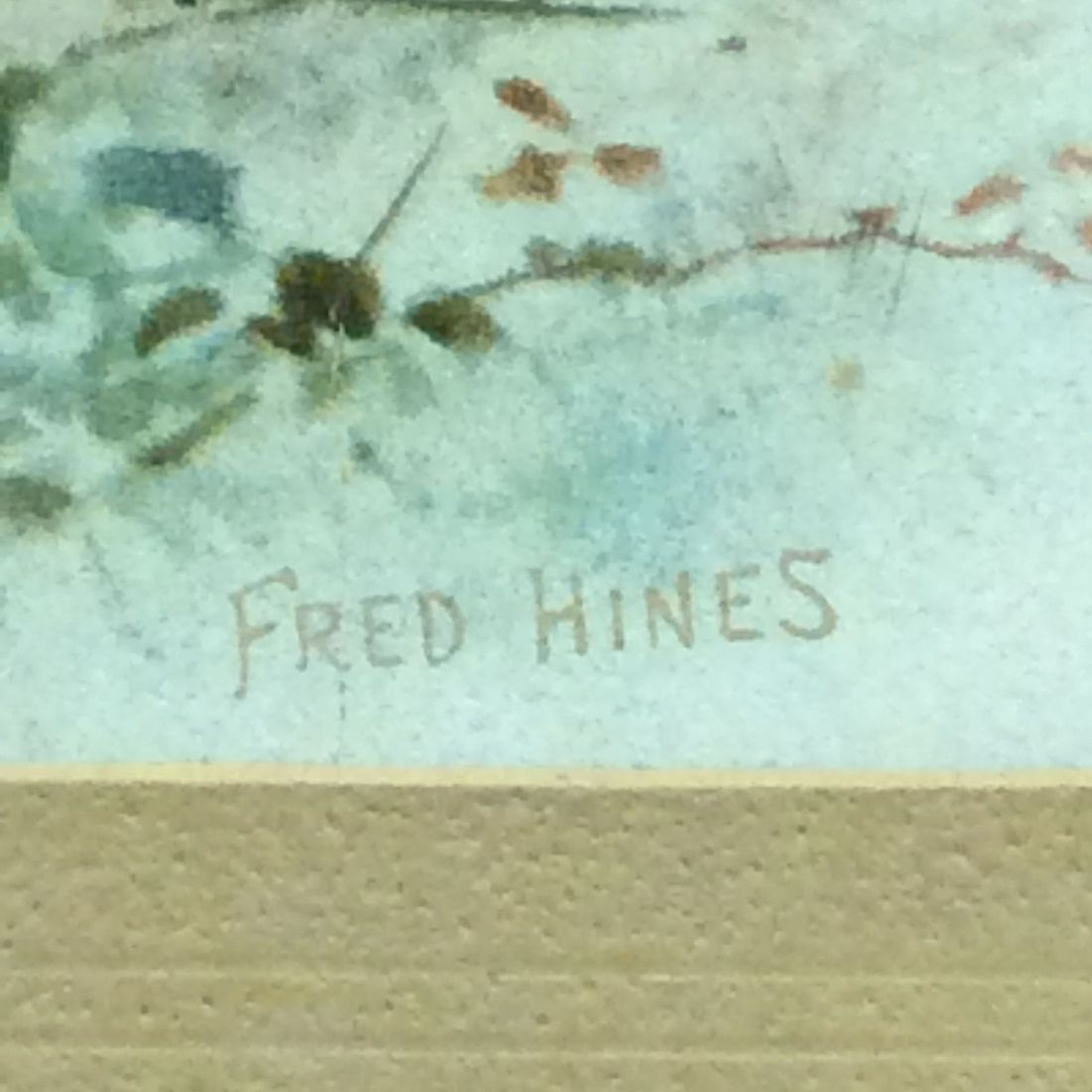 Frederick Hines Signature on Pastoral Scene Late 1800's Litho