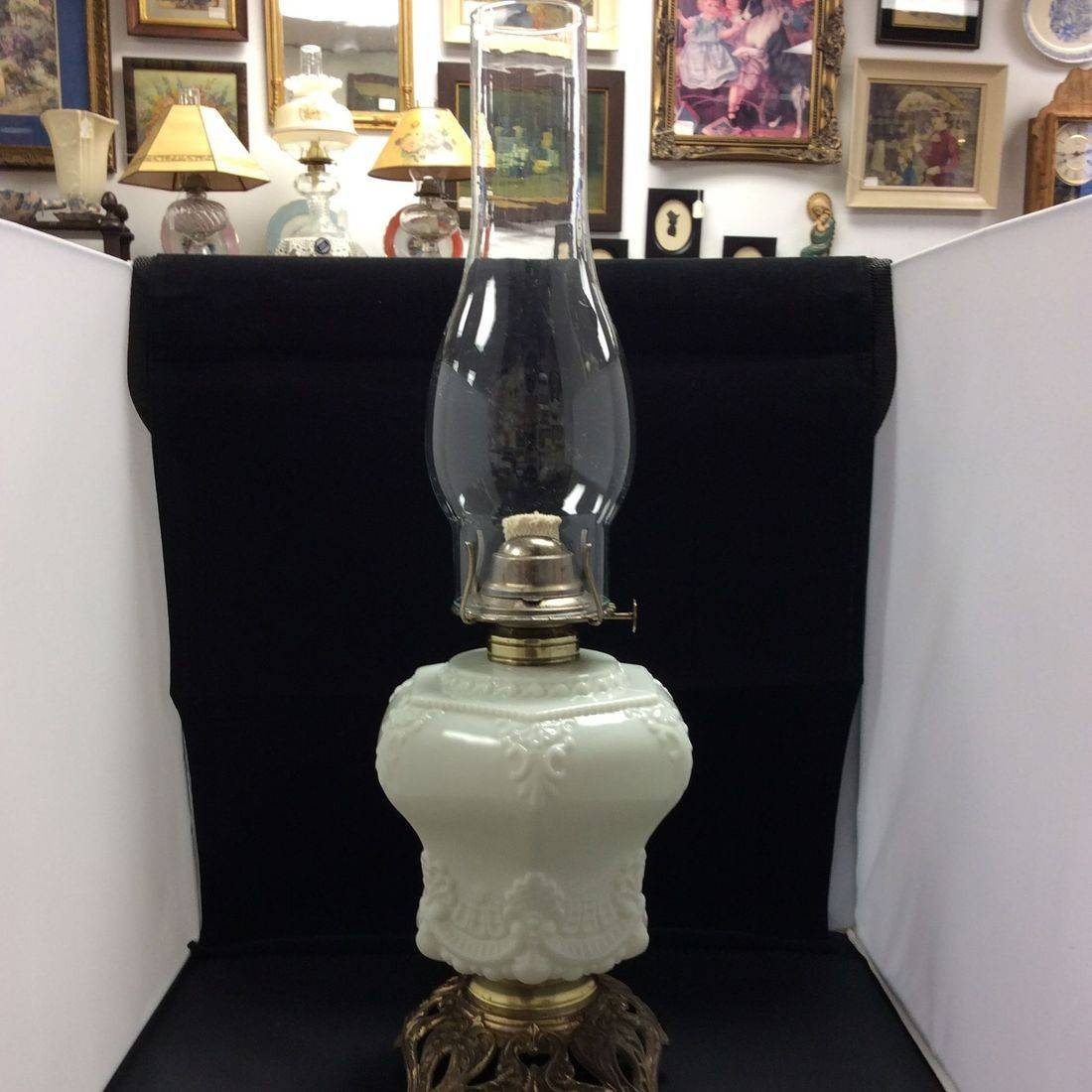 C. 1890's/1910  Milk White Glass, Parlor Oil Lamp   $95.00