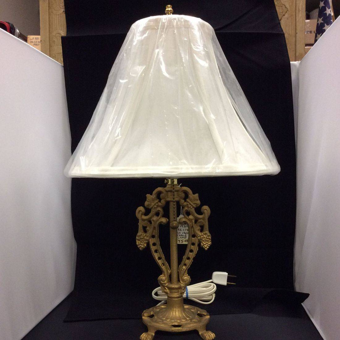 C. 1920's Lyre Style Cast Iron Table Lamp  $75.00