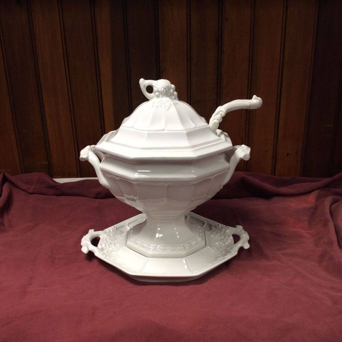 Vintage Red Cliff 4-Pc. Grape Ironstone Soup Tureen w/Under Plate and Ladle   $75.00