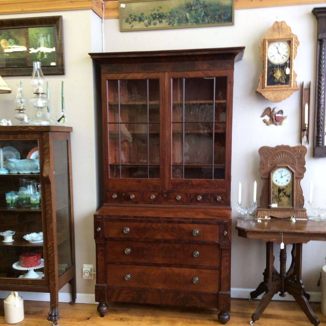 "Mid to Late 1800's Flame Mahogany 6-Drawer (+) Empire Secretary, base 41-1/2""W (crown 46-1/2"") x 21""D x 81""Hgt. Excellent Condition   $1,750.00"
