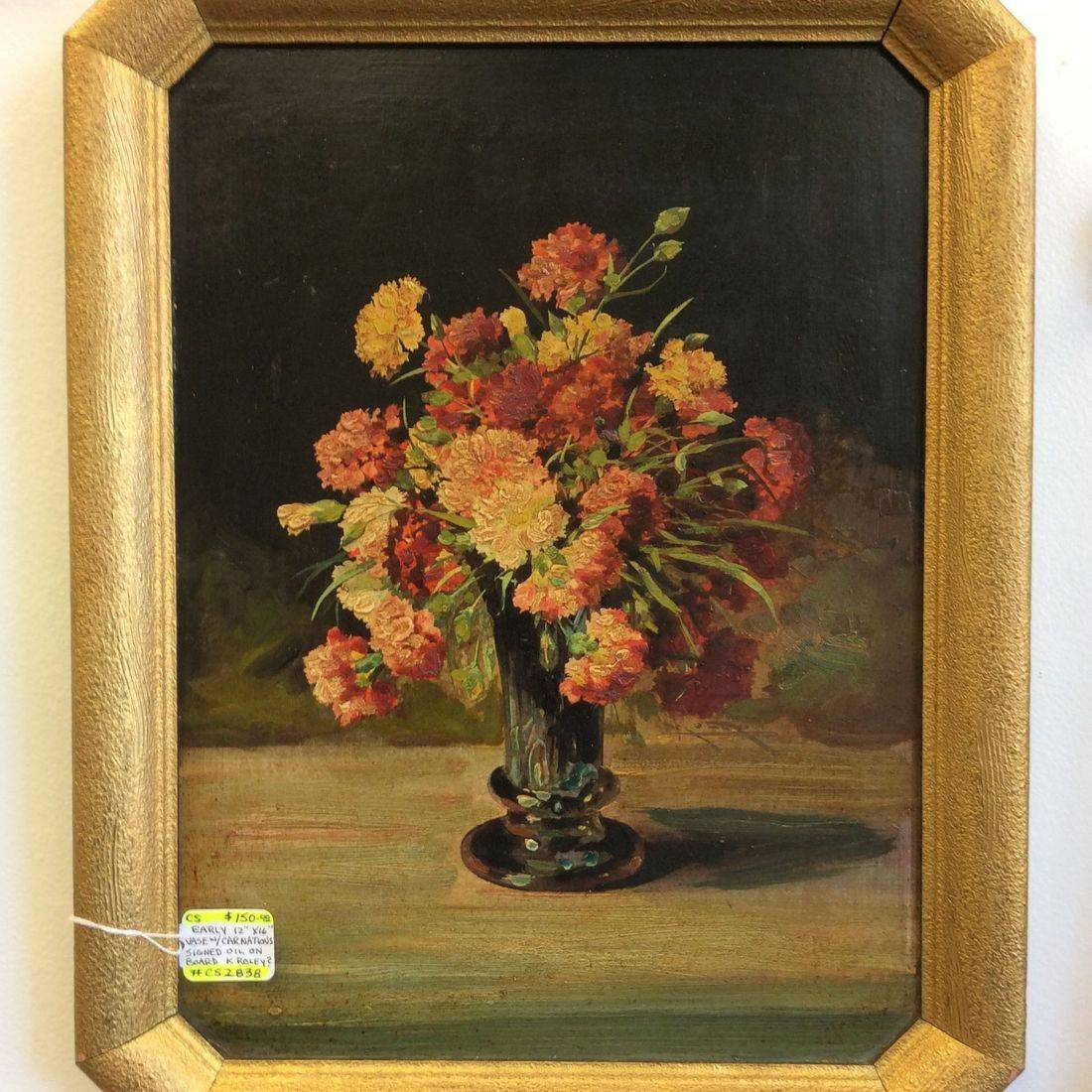 Vintage Vase w/Carnations Oil on Board signed K. Roley
