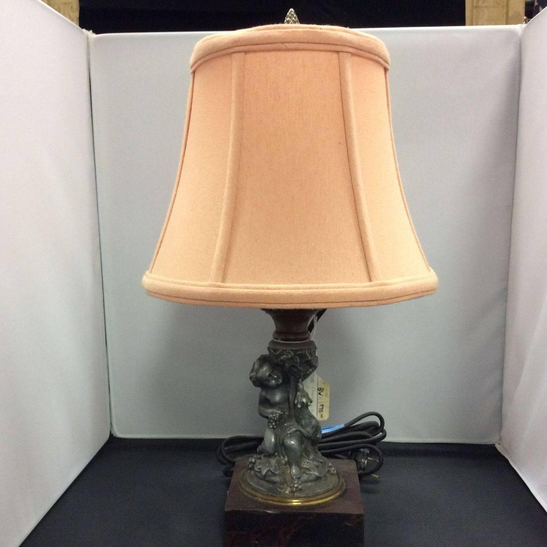 Early 1900's Cherub and Dog Lamp w/Marble Base  $75.00