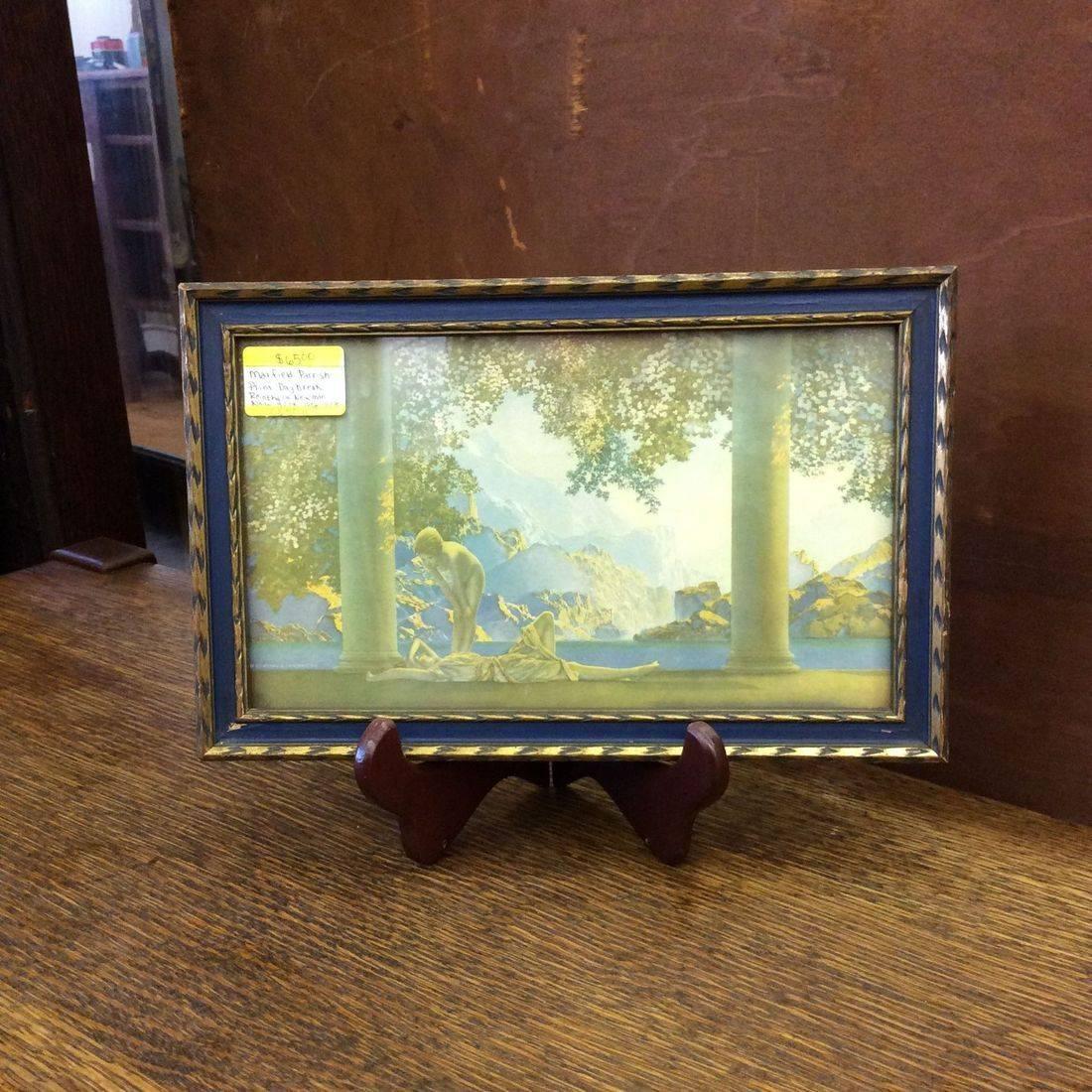 """1906-1928  Maxfield Parrish Print """"Daybreak"""" Reinthall & Newman N.Y.  11-1/8"""" x 7-1/8"""" Original Frame   $65.00"""