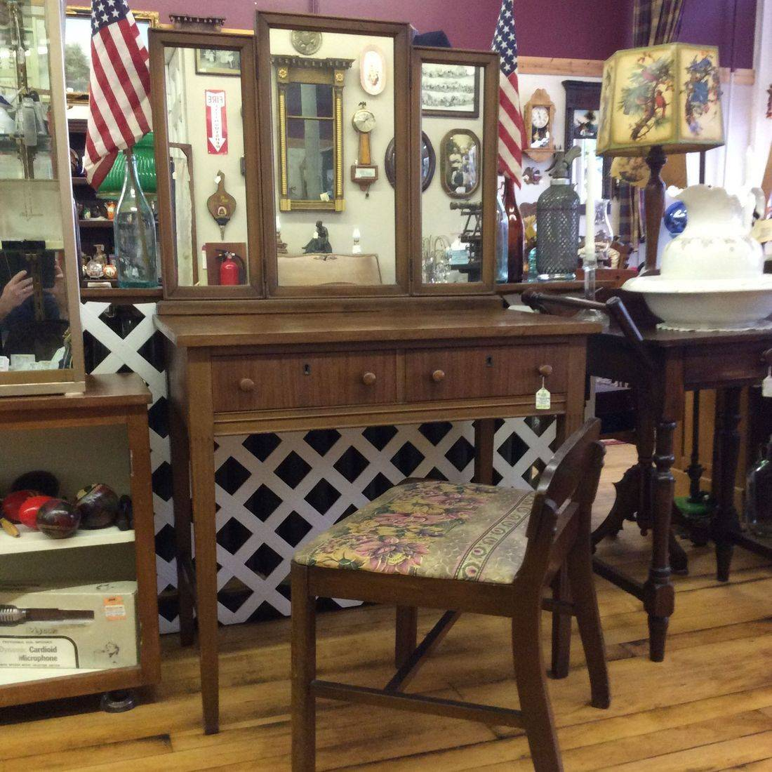 C. 1940's/50's Walnut 2-Drawer Vanity w/3-Mirrors ( 2-adjustable ) and Chair   $150.00