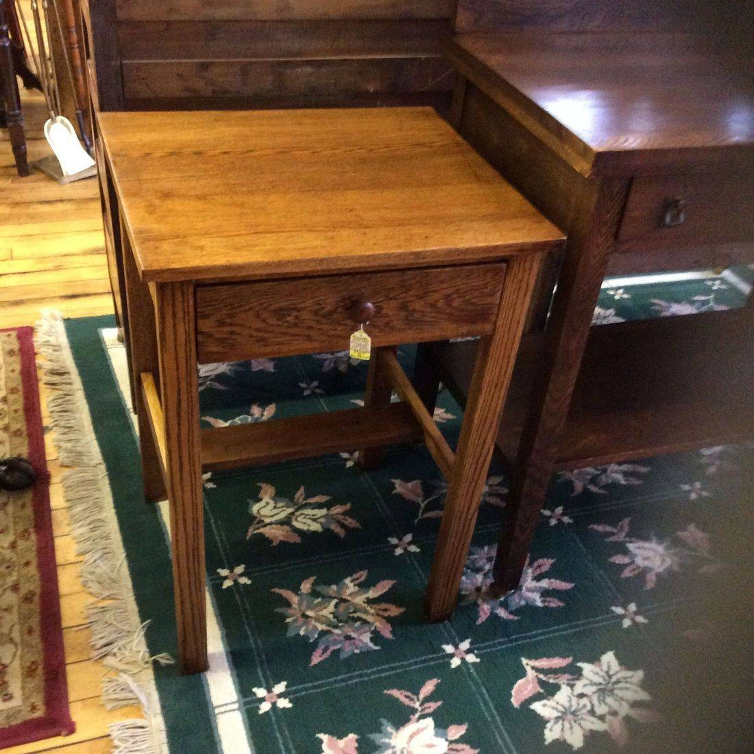 "Vintage Hand-Made Mission Oak 1-Drawer Side Stand 21""W x 19""D x 30""H.  $95.00"