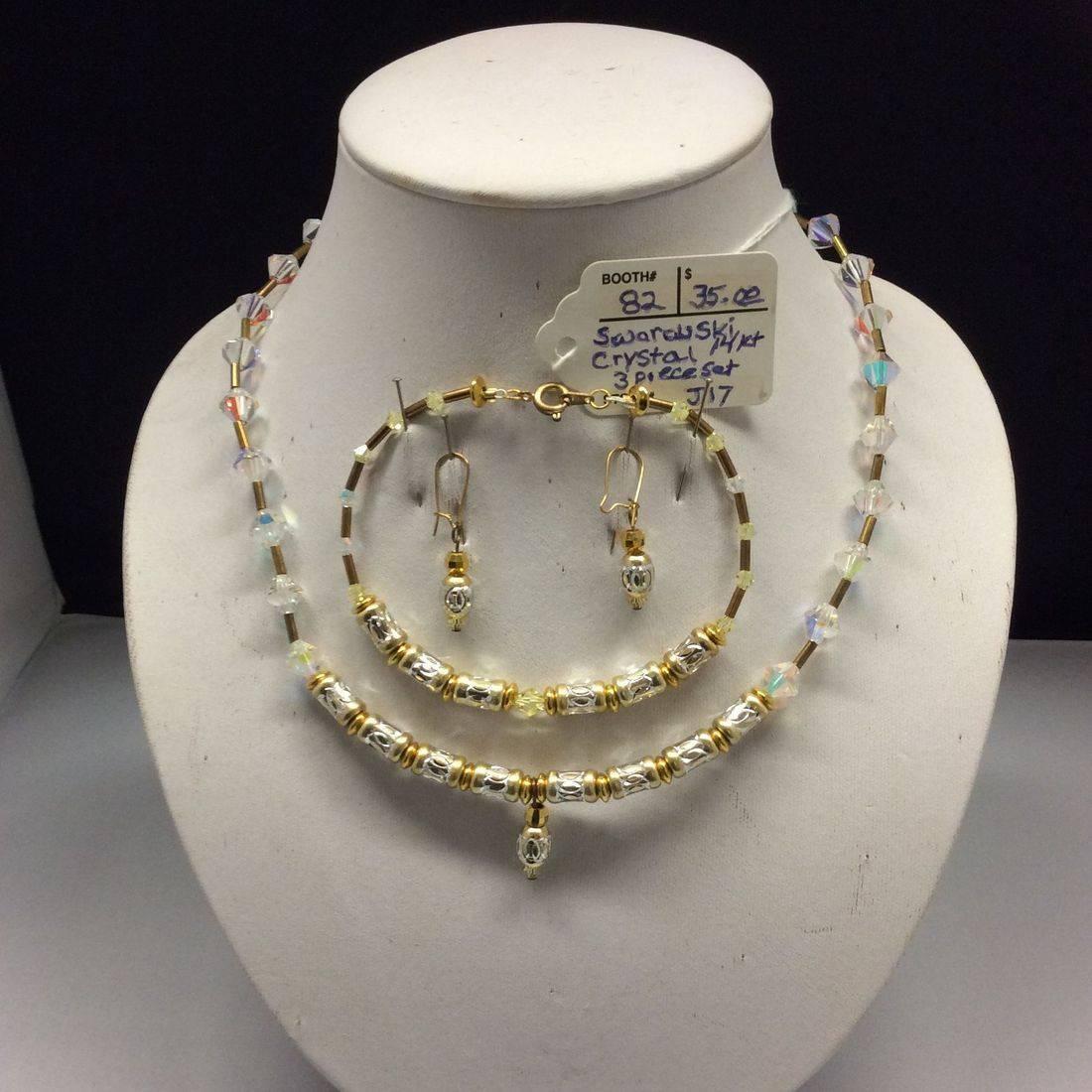 Swarovski Crystal, 14K, 3-pc. Necklace, Bracelet & Earring Set  $35.00