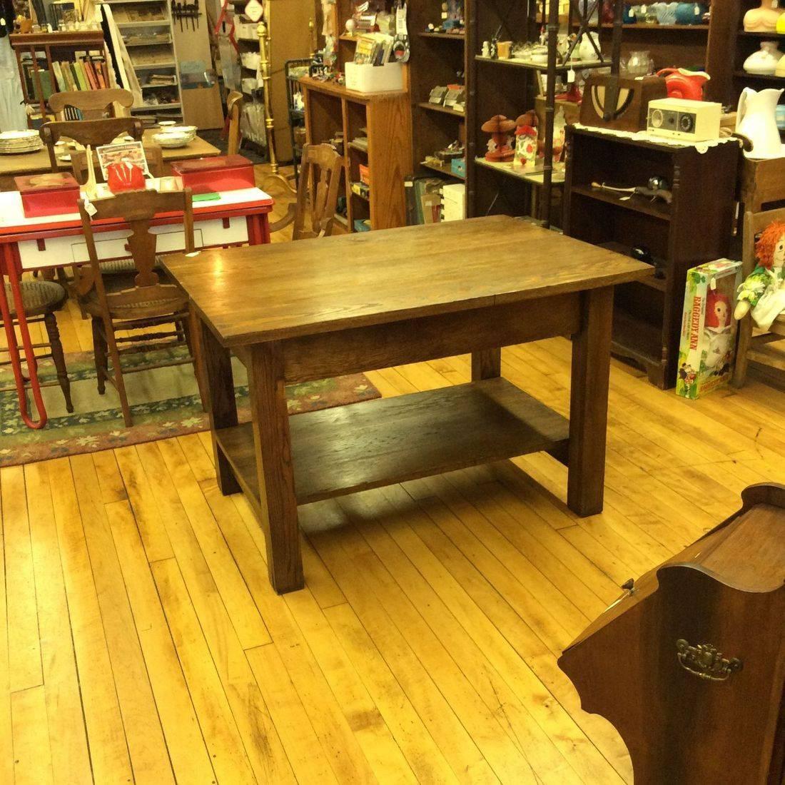 """Vintage Oak Work Table w/Shelf  46""""W x 33-3/4""""D x 30""""H  (very heavy, very solid)   $385.00"""