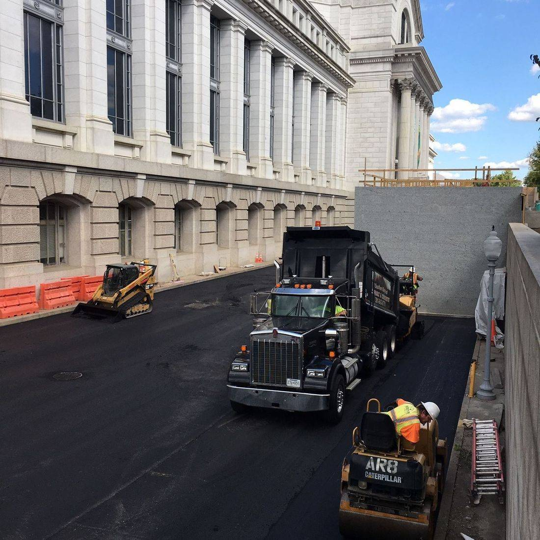 milling of old asphalt in parking lot