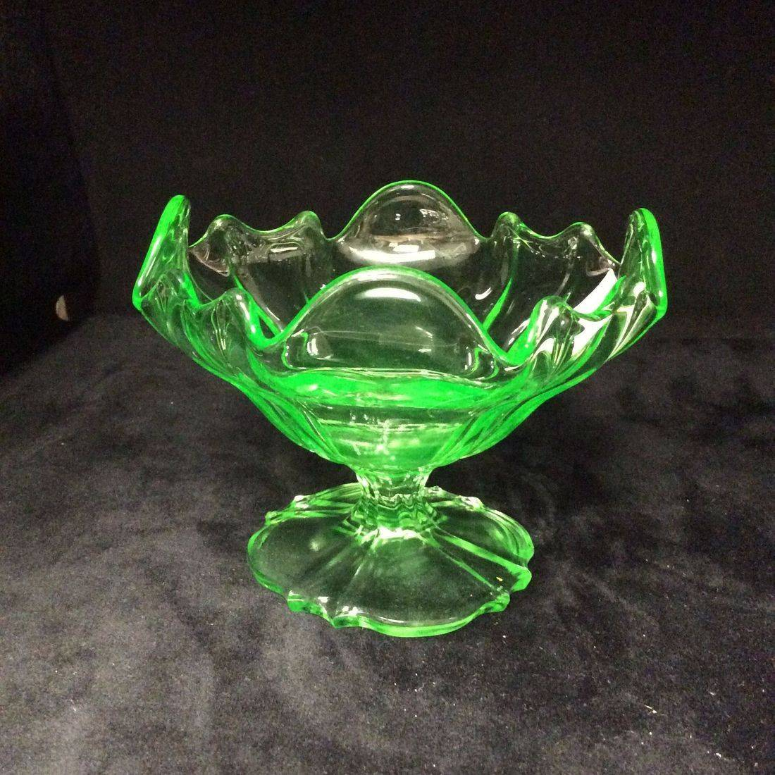 "Early Green Uranium Glass Ruffled Pedestal Candy/ Nut Dish  4-1/4""H x 5-7/8"" W.  $35.00"