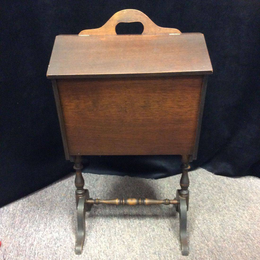 Vintage Mahogany Flip-Top Sewing Stand w/Interior Removable Tray   $55.00