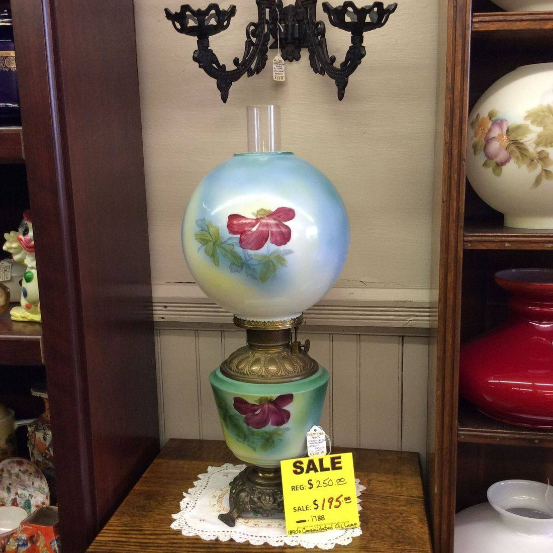1890's Consolidated, 'Working' H.P. Parlor Oil Lamp   $250.00