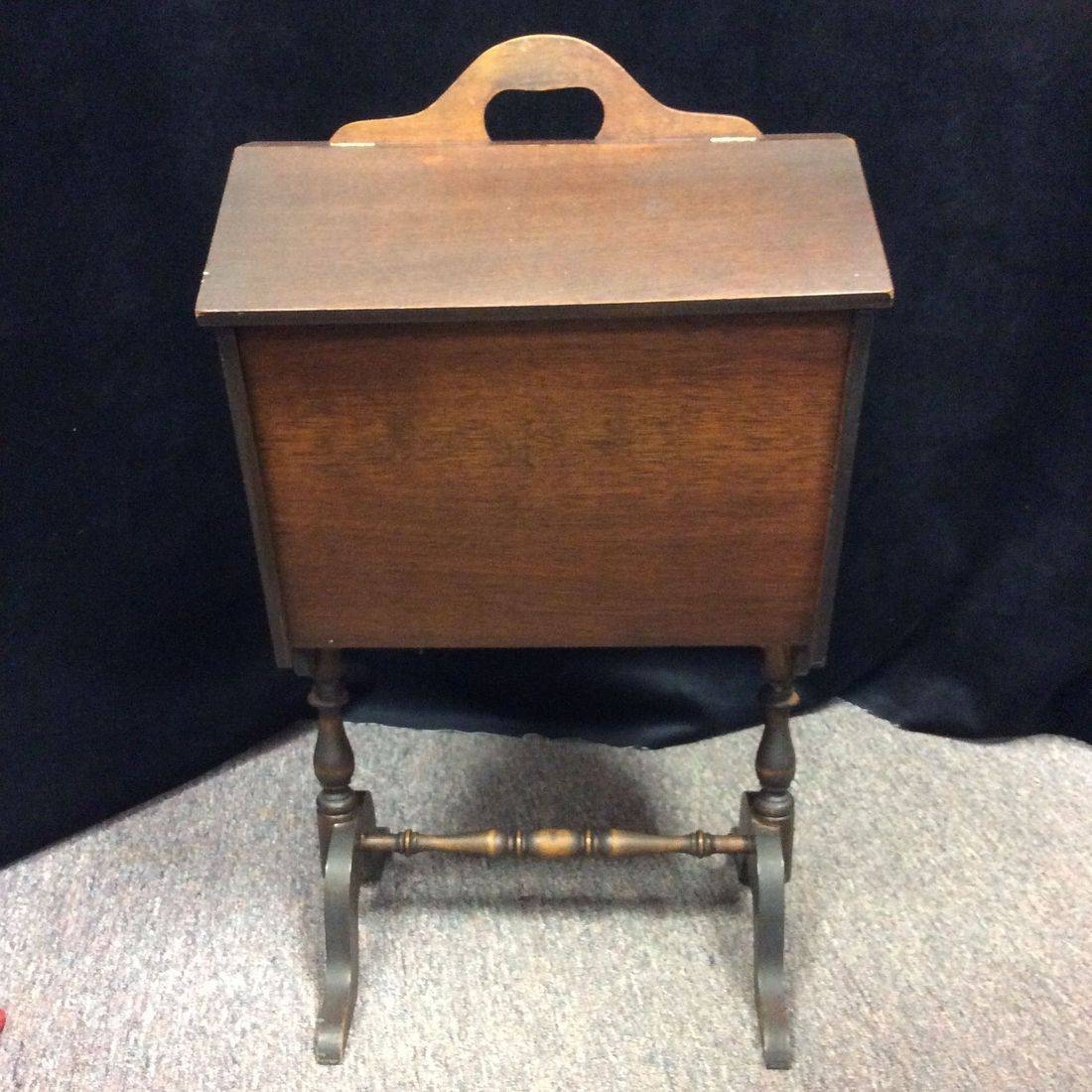 Vintage Mahogany, Flip-top Sewing Stand w/inside removable tray  $55.00