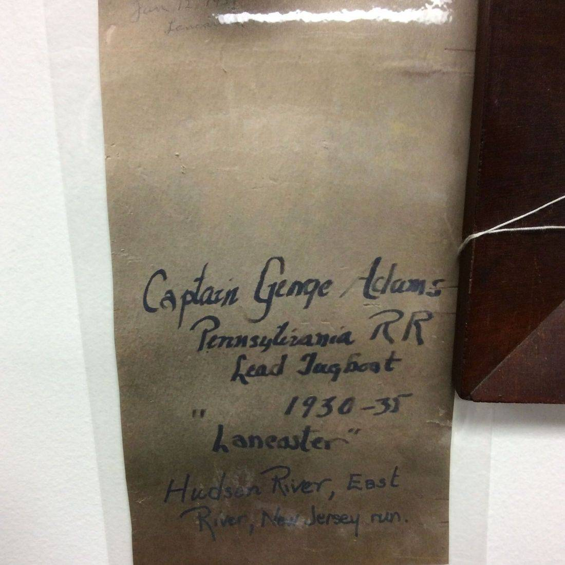 Rear of 1930's Captain George Adam's Photo