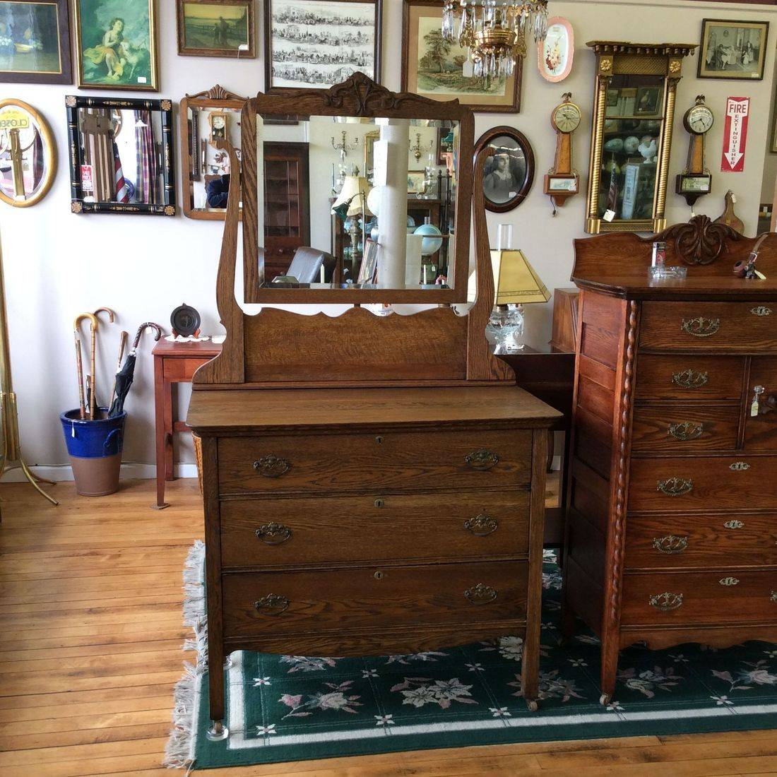"Early 1900's 3-Drawer Oak Dresser w/Mirror 40""W x 20""D x 35""H (Mirror Hgt. 71"")   $275.00"