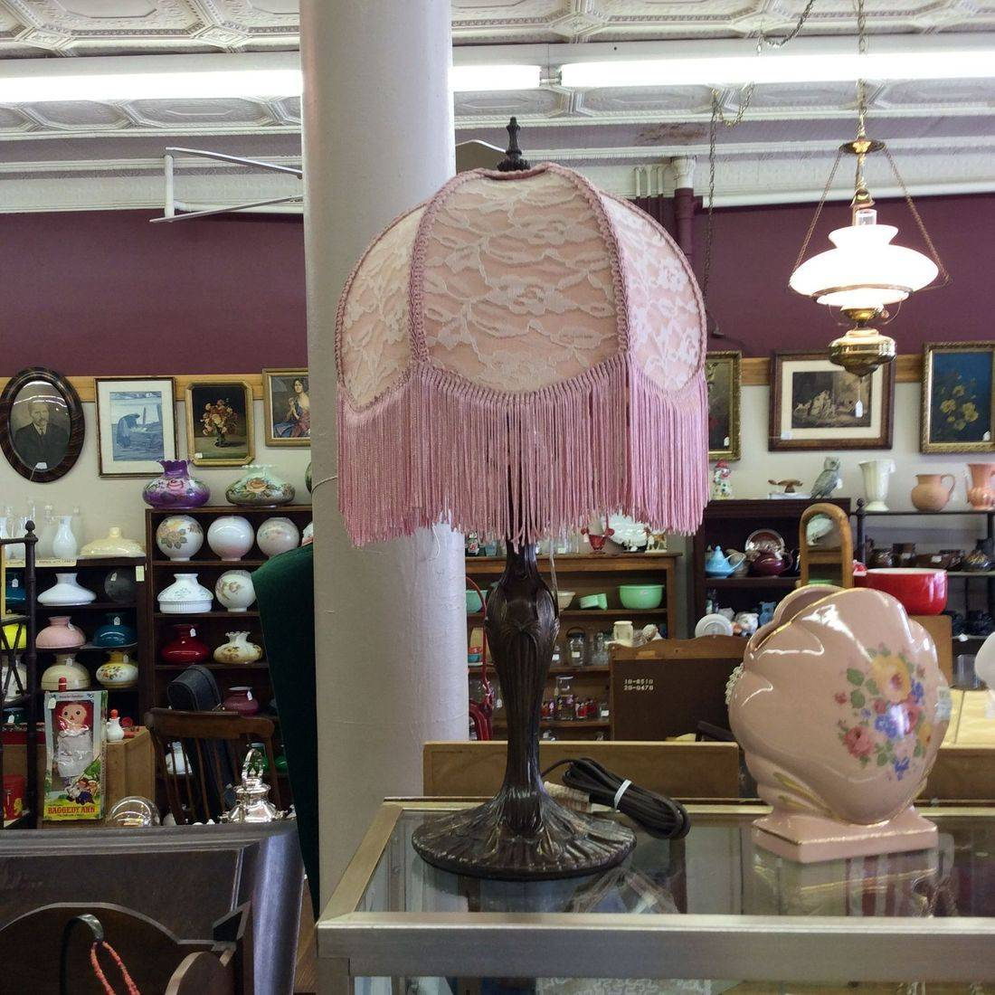 "21"" Antique Style Metal Lamp w/Tasseled Shade   $75.00"