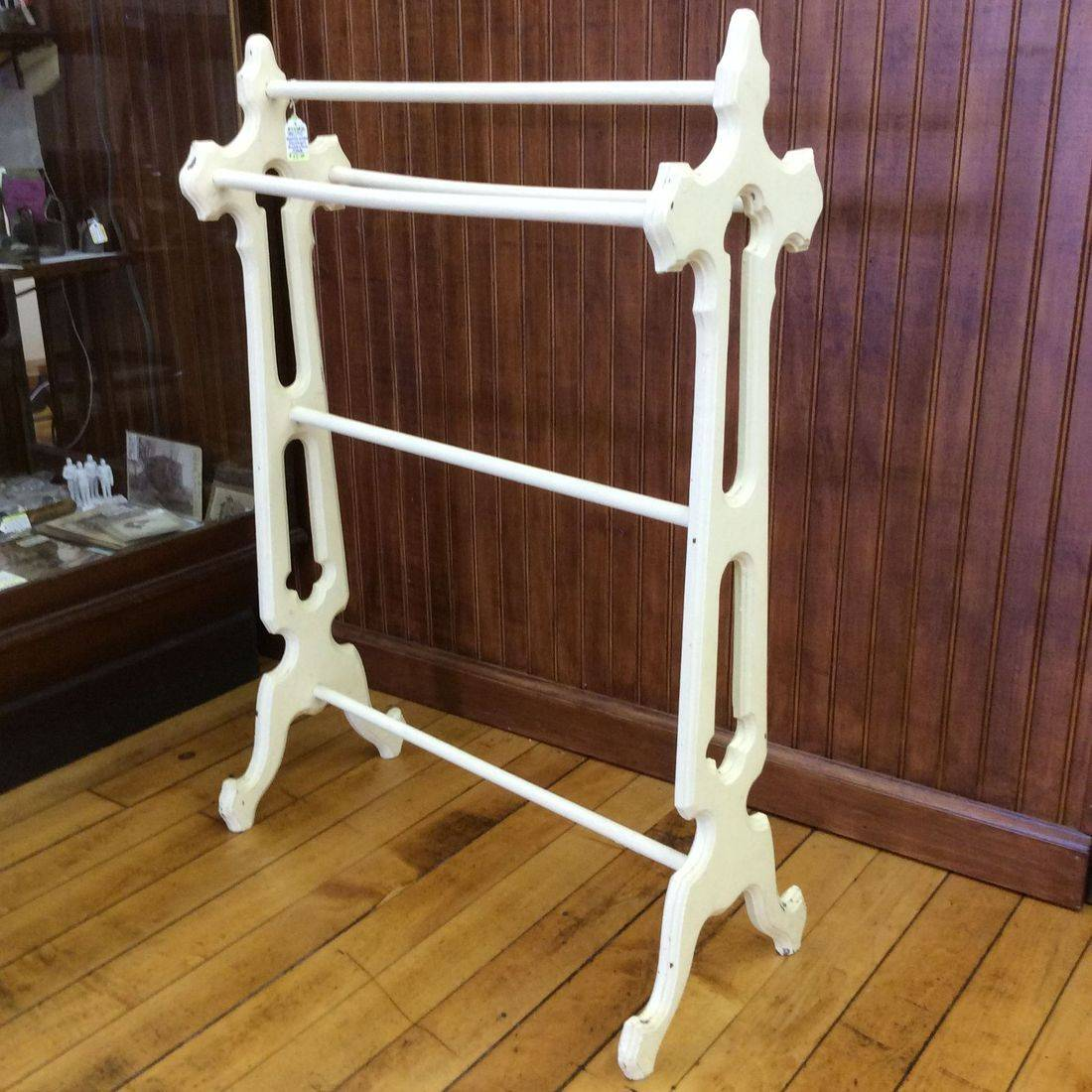 "1890's/1910 Gothic Painted Mahogany Blanket/Towel Stand   24""W x 11""D x 33""H.  $55.00"