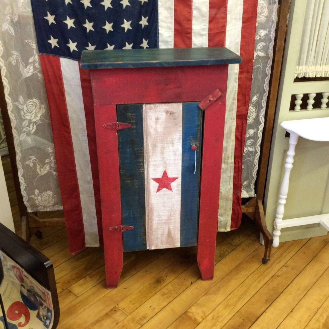 "Primitive Style American Patriotic Cupboard/Cabinet 20""W x 8-1/2""D x 37""H.  $45.00"
