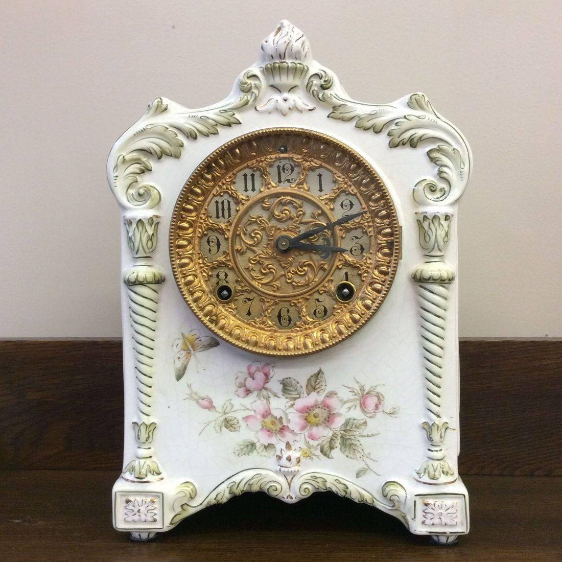 "Pat. June 18, 1882 Ansonia Clock Co.  ""Working""  Porcelain Mantle Clock  8-1/2"" x 5"" x 12""   Excellent condition.  $300.00"