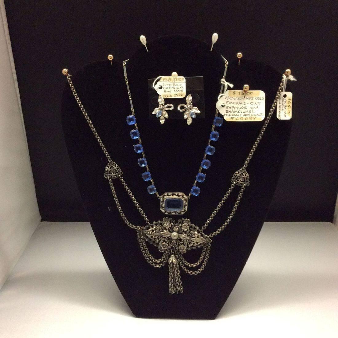 Vin. Silver Earrings w/Blue Stones  $18,  1920's/30's Deco, Sapphire Necklace  $75,  Victorian Dangle, Chain Necklace  $65.00.