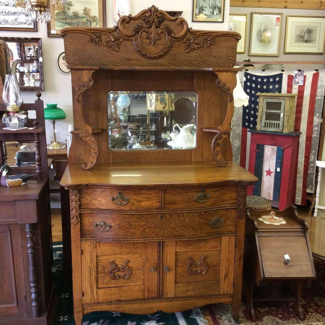 "C. 1890's/1910 Intricate Oak Buffet  44-1/4""L x 23""D x 37-3/4""H and 76-1/2"" top of mirror   $385.00"