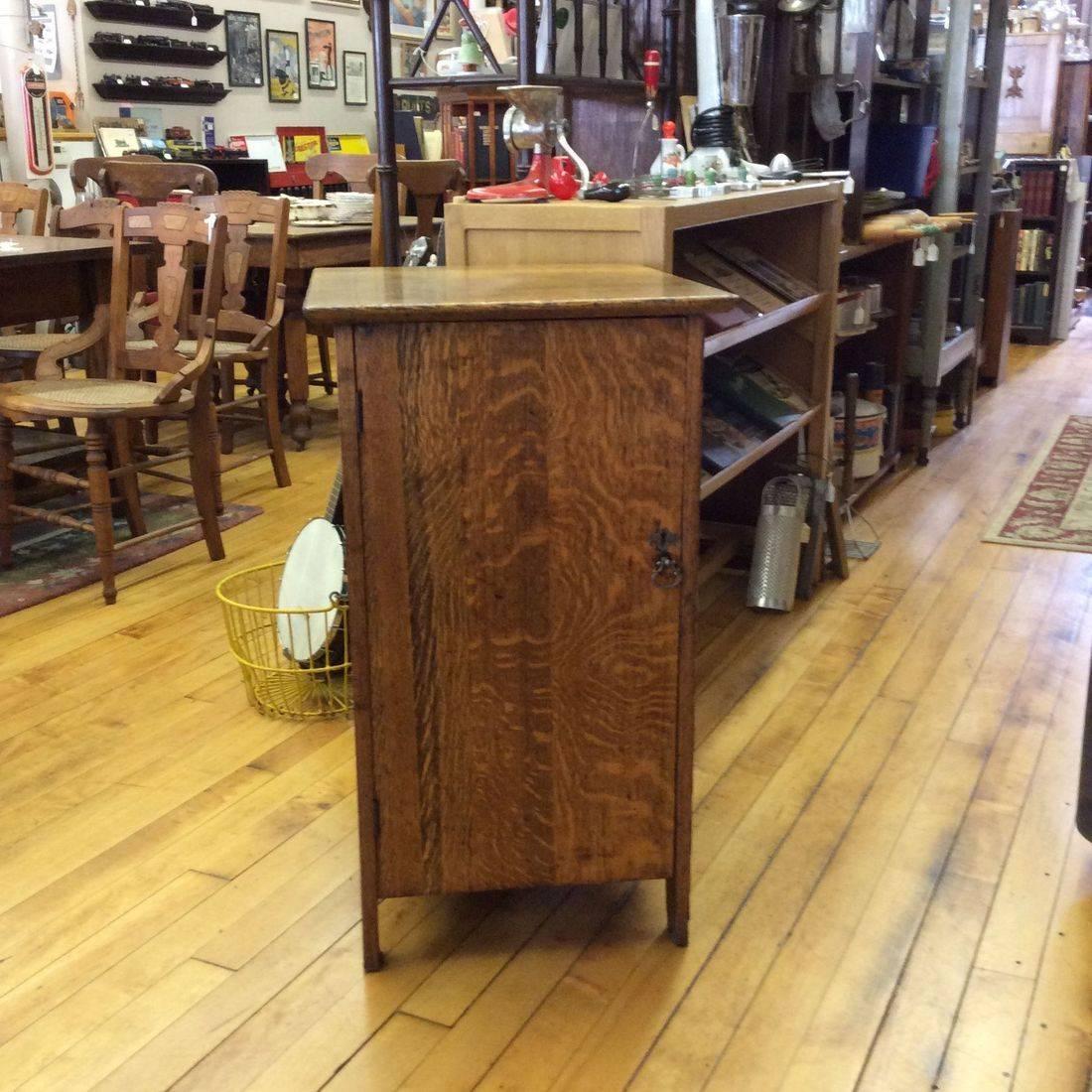 "C. 1910/1920's Oak Victrola Record Cabinet  19""W x 22""D x 33""H.  $150.00"