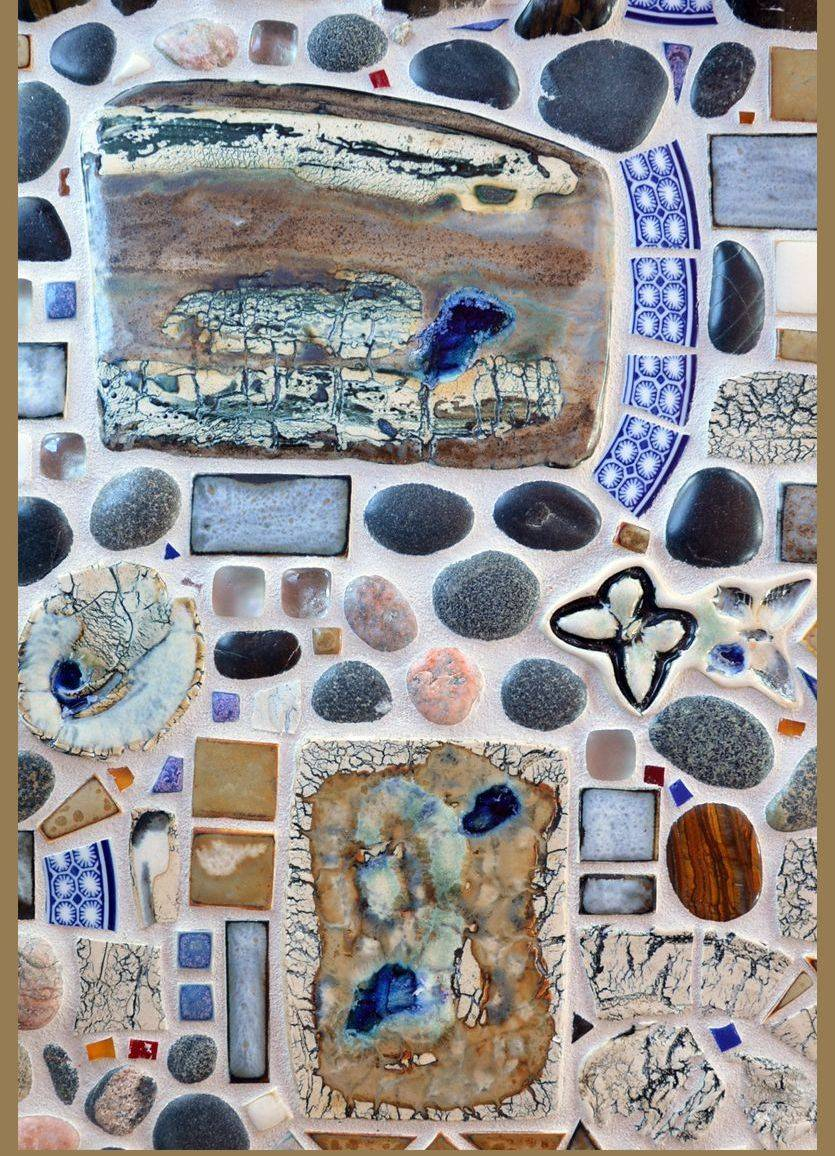 Hand Made abstract Porcelain tile , river stones, fine china,